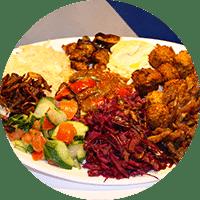 Assiette israélienne, falafels, chawarma