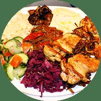 Assiette israélienne, haut de cuisse de poulet grillé