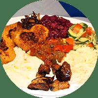 Assiette israélienne, poulet pané grillé